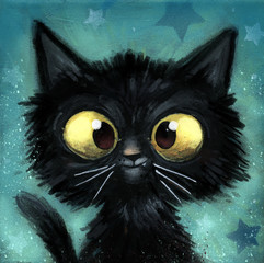 Obraz gato negro ilustracion