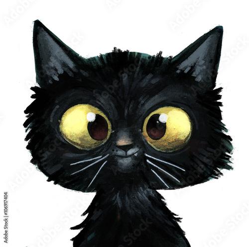 Spoed Foto op Canvas Kat gato negro ilustracion