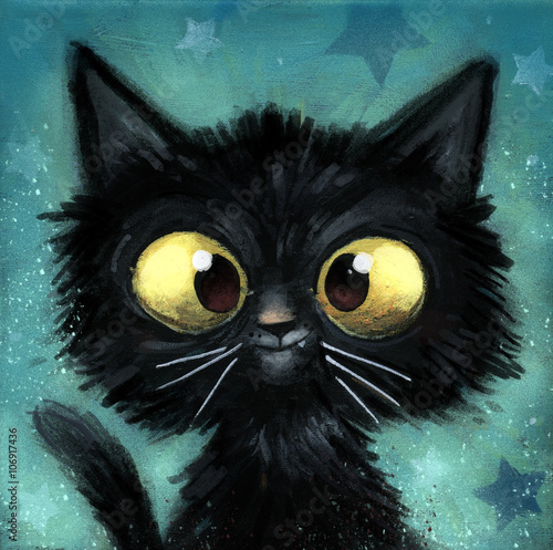 Vászonkép gato negro ilustracion