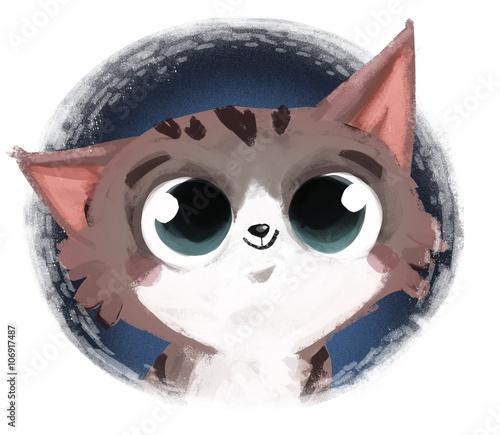 cara de gato ilustracion Slika na platnu