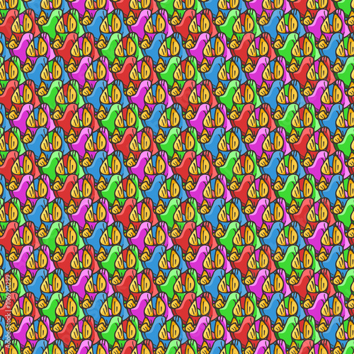 Foto auf AluDibond Boho-Stil Seamless pattern of candy wrappers, tails from the wrapper look like rabbit ears.