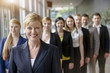 Portrait of businesswoman and business team standing in a row