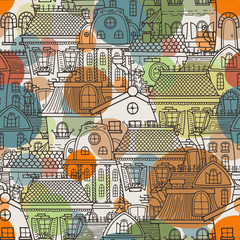 Panel Szklany Kolorowe domki Cute seamless pattern of doodle houses.