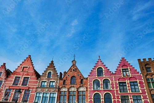 Poster Brugge Grote Markt square in Brugge at morning, Belgium