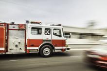 Blurred Motion Shot Of Speeding Fire Engine
