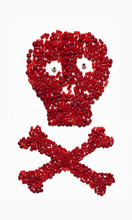 Red Skull And Crossed Bones Symbol Created With Candy