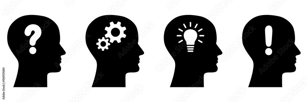 Fototapeta Set: Vier Gesichter im Profil und Icons / Fragezeichen, Zahnräder, Glühlampe, Ausrufezeichen / schwarz-weiß, Vektor, freigestellt