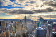 Colorful image of the skyline of Midtown Manhattan with its famous skyscrapers in HDR (highdynamic range) with blue sky in the day, New York City