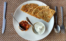 Aloo Paratha With Pickle And Curd