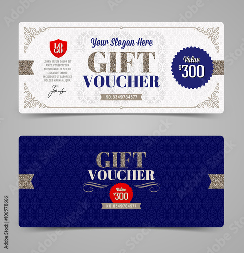 gift voucher template with glitter silver vector illustration
