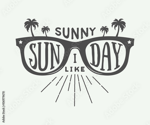 Vintage summer sunglasses in retro style with palms and quote.
