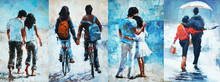 Man And Woman Go Under An Umbrella, , Oil Painting. A Pair Of Lovers 4 In 1 Collage
