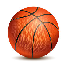 Orange Basketball Ball With Pimples And Shadow. Realistic Vector Illustration. Isolated On White Background.