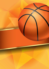 Fototapeta Koszykówka Basketball Poster with Basketball Ball. Basketball Playoff Advertising. Sport Event Announcement. Place Your Text and Emblem of Participants. Vector Illustration.