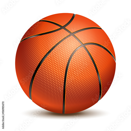Fotobehang Bol Orange Basketball Ball with Pimples and Shadow. Realistic Vector Illustration. Isolated on White Background.