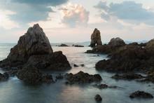 Breaking Ocean Rock Over The Sea