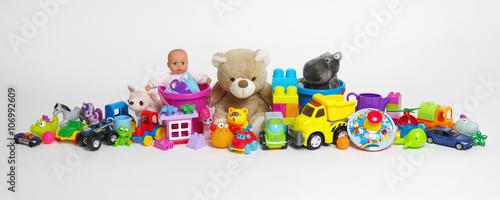 Cuadros en Lienzo Toys on a white