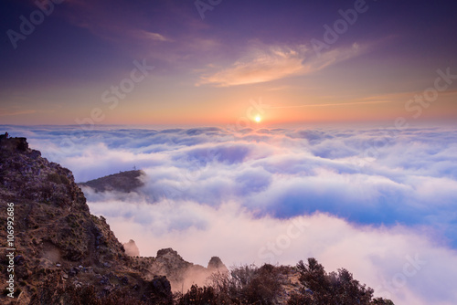 sunrise in the sea of clouds