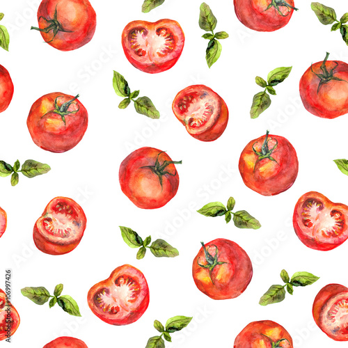 Seamless wallpaper with tomato vegetables and green basil