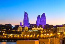 Night View Of The Flame Towers. Flame Towers Are New Skyscrapers In Baku. The Republic Of Azerbaijan
