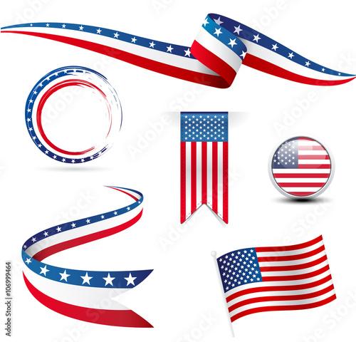 USA flags Wall mural