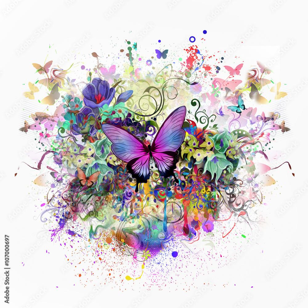 абстрактный цветочный фон с бабочками