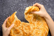 Female Hands, Tearing A Loaf O...