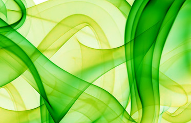 abstraction with green and yellow smoke