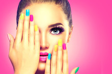 Beauty Girl Face With Colorful...