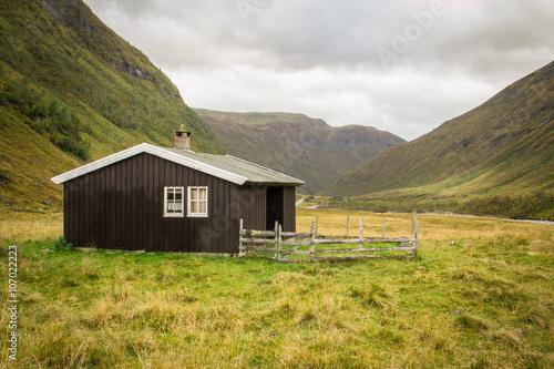 Staande foto Scandinavië Cabañas de Noruega