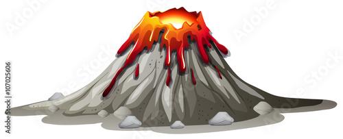 Canvas Print Volcano eruption with hot lava