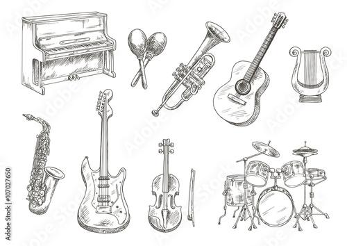 Fotografía Sletched classic musical instruments set