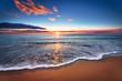 Sunset. Beautiful sunset at black sea. Gold sea sunset.
