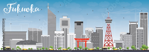 Aluminium Prints Blue Fukuoka Skyline with Gray Landmarks and Blue Sky.