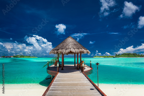 Photo Stands Bestsellers Traditional boat jetty in luxury resort of Maldives, Indian Ocea