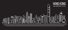 Cityscape Building Line Art Vector Illustration Design Hong Kong City