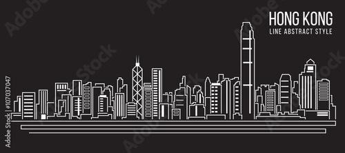 Cityscape Building Line art Vector Illustration design Hong kong city Tableau sur Toile