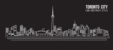Cityscape Building Line Art Vector Illustration Design - Toronto City