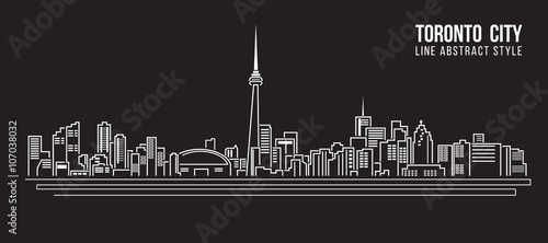Cityscape Building Line art Vector Illustration design - Toronto city Canvas Print