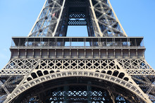 Eiffel Tower Paris France Middle Section First Floor Closeup
