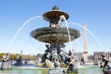 Famous Fountain Place De La Concorde, Paris, France, Obelisk Of Luxor