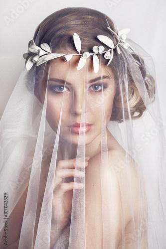 Tela Beautiful bride with fashion wedding hairstyle - on white background