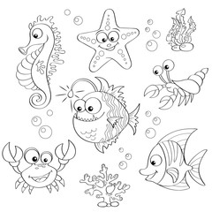 Set of cute cartoon sea animals. Black and white vector illustration for coloring book