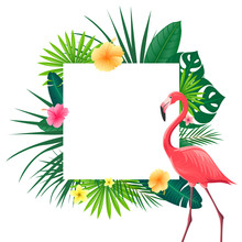 Vector Illustration Of An Abstract Background With Tropical Leaves, Flowers And A Flamingo