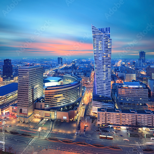 obraz dibond Panorama of modern Warsaw by night