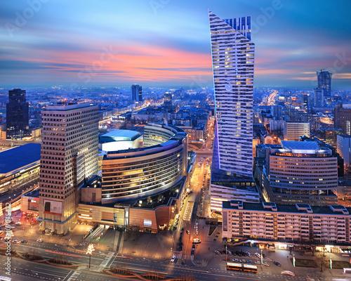 fototapeta na szkło Panorama of modern Warsaw by night