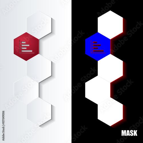 Fotografie, Obraz  Hexagons_Red_Icon_Vertical