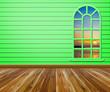 Leinwanddruck Bild - Empty room with wood floors and windows.