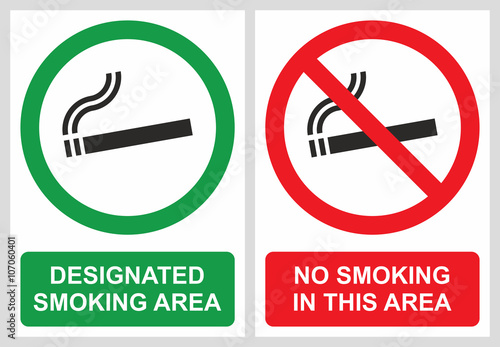No smoking and smoking area labels Canvas Print