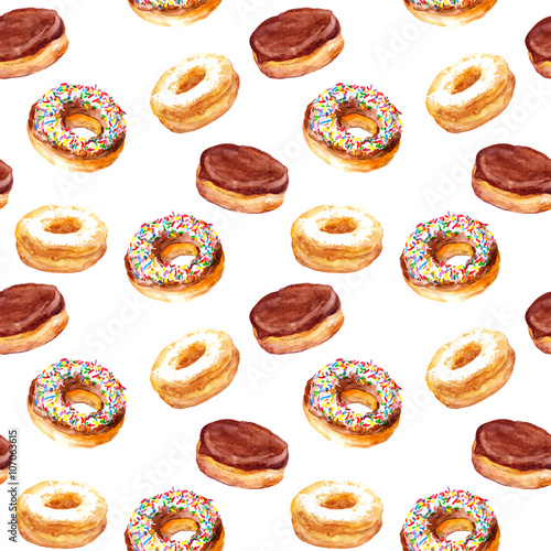 Cotton fabric Art seamless backdrop with watercolor painted cakes donuts